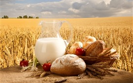 Preview wallpaper Bread, milk, tomatoes, wheat field