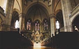 Igreja, interior, corredor, janelas, cadeiras