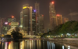 City, night, river, skyscrapers, lights, trees