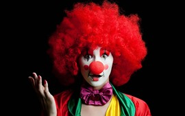 Clown, girl, colorful, black background