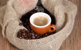 Café, taza, granos de café, bolsa, vapor.