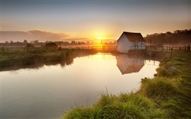 Countryside, house, river, fence, fog, morning, sunrise
