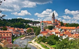 Preview wallpaper Czech Republic, city, houses, river, trees, clouds