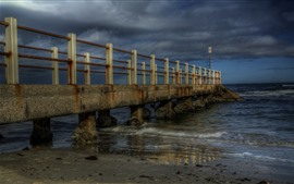 Dock, bridge, sea, stones, dusk