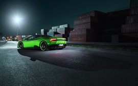 Green Lamborghini supercar rear view, dock, night