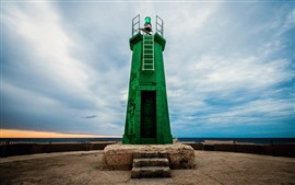 Preview wallpaper Green lighthouse, blue sky, clouds