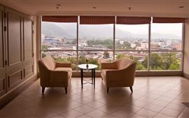 Интерьер, диван, окно, город