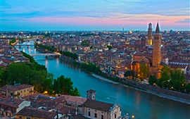 Italy, river, houses, city, bridge, lights, dusk