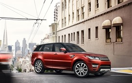 Preview wallpaper Land Rover Range Rover, red SUV, city, road