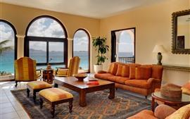 Sala de estar, sofá, mesa, cadeira, janela, mar, interior