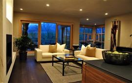 Sala de estar, sofá, ventana, noche, luces, interior.