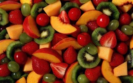 Preview wallpaper Many fruit slice, strawberry, kiwi, peach