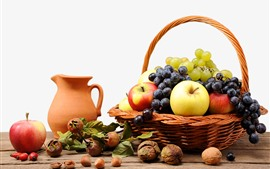 Preview wallpaper One basket of fruit, grapes, apples, nuts