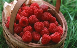 Preview wallpaper One basket of red raspberries