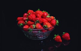Preview wallpaper One bowl of fresh strawberries, black background
