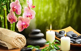 Preview wallpaper Phalaenopsis, stones, candles, towel, SPA