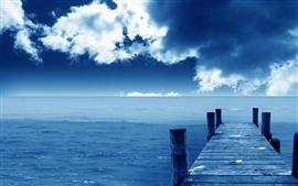 预览壁纸 码头,桥梁,海洋,蓝色,天空,云彩,海岸