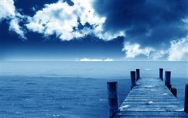 Preview wallpaper Pier, bridge, sea, blue, sky, clouds, coast