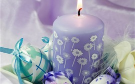 Preview wallpaper Purple candle, flame, Easter eggs