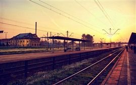 Railway, rail station, city, houses, sunrise, morning