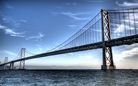 San Francisco, puente, mar, nubes, Estados Unidos