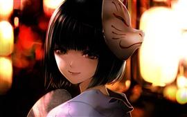 Anime japonesa de cabelo curto, máscara