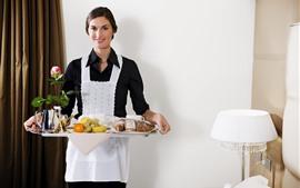 Vorschau des Hintergrundbilder Lächeln Mädchen, Kellnerin, Essen