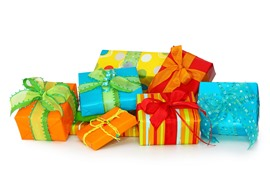 Some gift, colorful box, white background