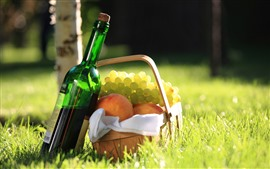 Preview wallpaper Wine, grapes, peach, basket, grass, sunshine