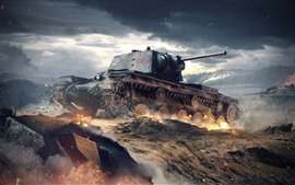 Preview wallpaper World of Tanks, war, dust, clouds