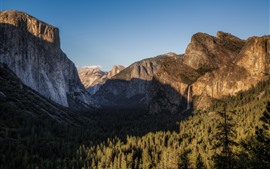 Preview wallpaper Yosemite National Park, waterfall, mountains, forest, shadow, USA