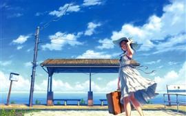 Chica anime, falda, sombrero, estación, nubes