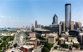 Atlanta, Geórgia, EUA, cidade, roda gigante, arranha-céus