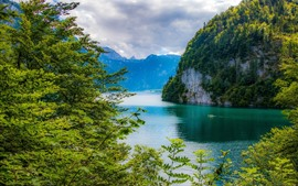 Preview wallpaper Bavaria, Germany, lake, mountains, trees, green, beautiful scenery