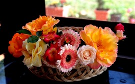Preview wallpaper Beautiful flowers, basket, interior
