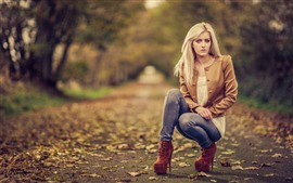Preview wallpaper Blonde girl, pose, autumn, hazy