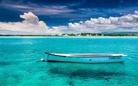 Preview wallpaper Boat, blue sea, beach, palm trees, clouds