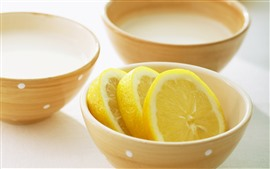 Preview wallpaper Bowl, lemon slice