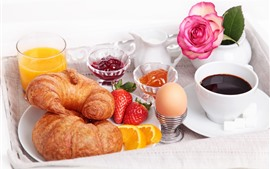 Preview wallpaper Bread, egg, strawberry, juice, coffee, rose, breakfast