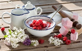 Breakfast, white lilac flowers, yogurt, raspberry