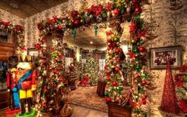 Рождество, интерьер, украшение, красочный