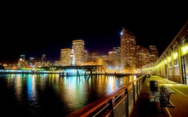 Preview wallpaper City, river, bench, road, buildings, lights, night