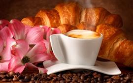 Café, taza, espuma, flores, pan, comida