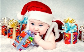 Preview wallpaper Cute baby, hat, gifts, Christmas