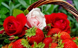 Preview wallpaper Delicious strawberries, rose, basket, fruit