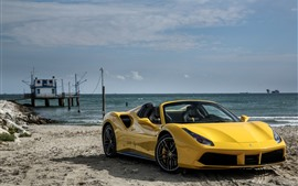 Preview wallpaper Ferrari 488 yellow supercar, sea, beach