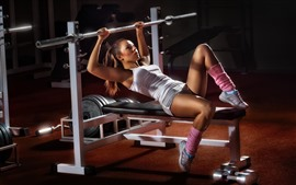 Preview wallpaper Fitness girl, trainer, gym