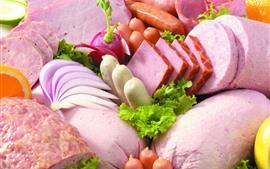 Aperçu fond d'écran Nourriture, saucisse, radis, chou, viande