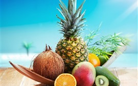 Frutas, abacaxi, coco, abacate, manga, kiwi, laranja