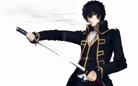 Preview wallpaper Gintama, anime boy, samurai sword